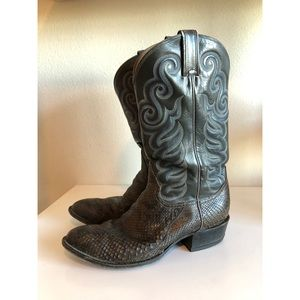 GOLD LABEL Sz 11E TONY LAMA Snakeskin Cowboy boots